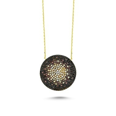 Online Takı Renkli Taşlı Gümüş Kolye Renkli